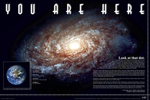 You Are Here (Carl Sagan Quote) Galaxy Planet Decorative Inspirational Poster Print 24x36