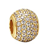 925 Sterling Silver Charms Gold-Color Pave CZ Ball European Charm Beads Fit Snake Chain Bracelet Bangle Necklace DIY Jewelry Making