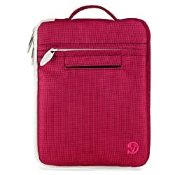 VangoddyTM Elegant Hydei Nylon Tapestry Carrying Sleeve Case for Jazz Ultratab Ncredible Tablet NV8 / Q408 / C855 8-inch Tablets (Magenta Pink)