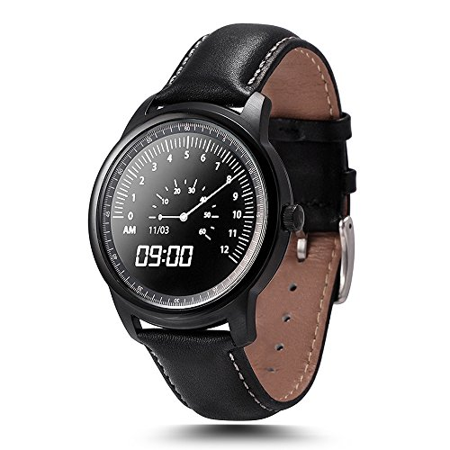 LEMFO LEM1 Bluetooth Smart Watch - Waterproof Leather Strap Full HD IPS Screen Fitness Tracker For IOS Android Smartphone (Black)
