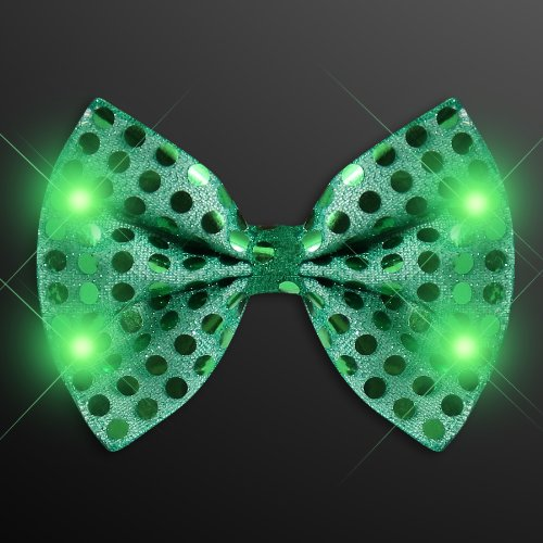 Light Up Green Sequin Bow Tie