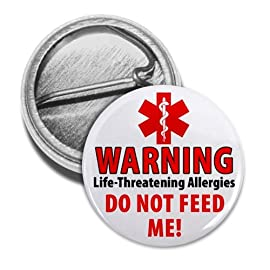 DO NOT FEED ME Food Allergy Warning Alert 1 inch Mini Pinback Button Badge
