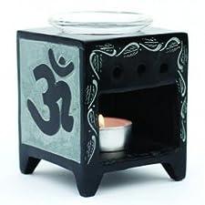 Producto de comercio justo aceite de fragancia de la lámpara de OM, esteatita natural de colour negro