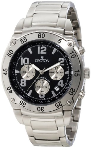 Croton Men's CC311310SSBK Chronograph Black Textured Dial Stainless Steel Watch