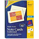 Avery 8317 Ink jet embossed note cards, 4-1/4 x 5-1/2, ivory, 60 cards & envelopes/box