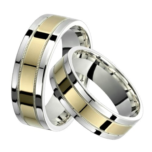 Allegra &#8211; Stunning Two Tone Comfort Fit Wedding Band for Him &#038; Her! Custom Made! Choose your Size.