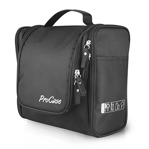ProCase Toiletry Bag with Hanging Hook, Organizer for Travel Accessories, Makeup, Shampoo, Cosmetic, Personal Items, Bathroom Storage with Hanging, Large, Black (Personal Organizer Bathroom compare prices)