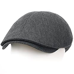 ililily New Men's Cotton Flat Cap Cabbie Hat Gatsby Ivy Caps Irish Hunting Hats Newsboy with Stretch fit (flatcap-004-1) Grey