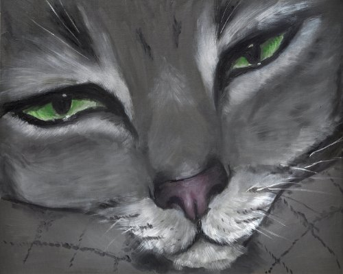 "01111 Canvas Art for Wall Decor – REGISTERED ARTWORK – Original Oil Painting Giclee ""Feline Gaze"" By Lena Kashigin, Artist Hand Finisheds and Signed Artwork, 16×20, Registered Limited Edition, Ready to Hang Cat Canvas Wall Art"