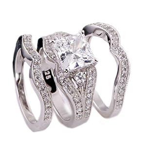 3.38ct Princess Cut Engagement Wedding Ring Set 3pcs .925 Sterling Silver Size 5-10 (7)