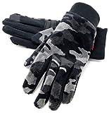(エドウィン) EDWIN 手袋 メンズ グローブ スマホ対応 スマートフォン対応 フリース 迷彩 3color Free ブラック