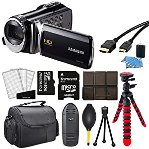 Samsung HMX-F90 HD Video Recording Camcorder Black + 12-Inch Flexible Tripod + Medium Digital Camera/Video Case + USB 2.0 Memory Card Reader + 6 Piece SD/SDHC Memory Card Hard Plastic Case + More in this 16GB Deluxe Accessory Kit!