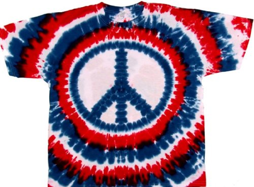 Tie Dyed Shop Peace Sign Tie Dye T Shirt-Patriotic Red White Blue -Shortsleeve-Xlarge-Multicolored front-326751