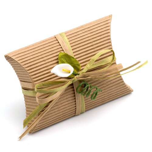 10 Small Pretty Corrugated Brown Kraft Pillow Favor / Pillow Boxes (70mm x 70mm x 25mm) - Decorations not Included