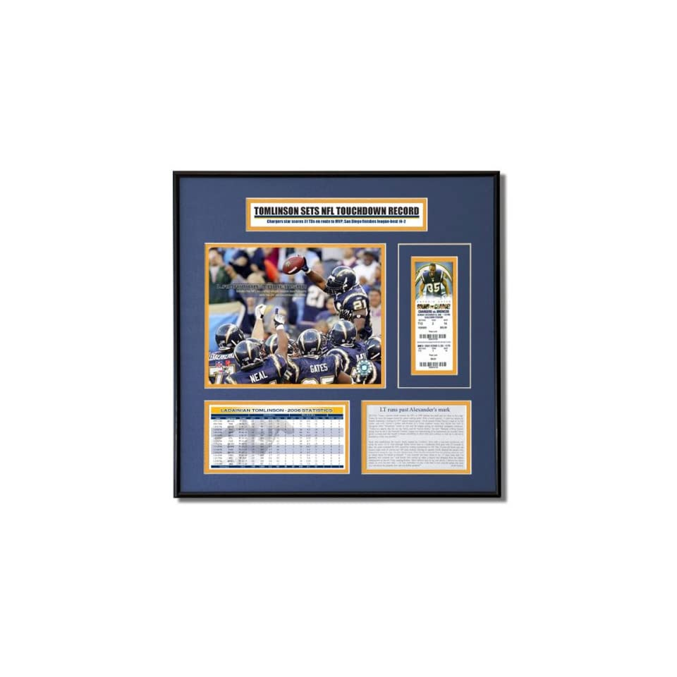 LaDainian Tomlinson San Diego Chargers   2006 NFL Record Breaker   Ticket Frame