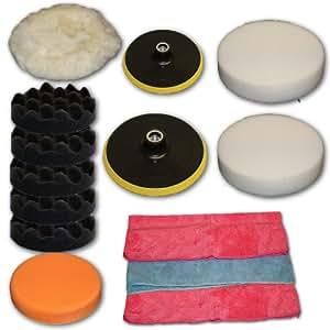 TecTake® 14 teiliges Polierset Polierschwamm Set für Poliermaschine Schwamm Auto polieren