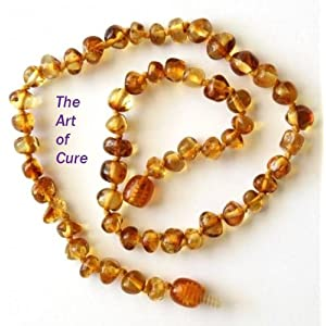 "The Art of Cure TM - Baltic Amber Baby Teething Necklace - Honey w/""THE ART OF CURE TM"" Jewelry Pouch"