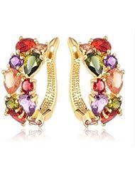 New Flower Earrings 18K Yellow Gold Plate Multicolor AAA Cubic Zirconia Diamond Stud Earrings For Women