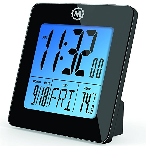MARATHON CL030050BK Digital Desktop Clock with Day, Date, Temperature, Alarm and Backlight. Black - Batteries Included (Digital Clock With Date compare prices)