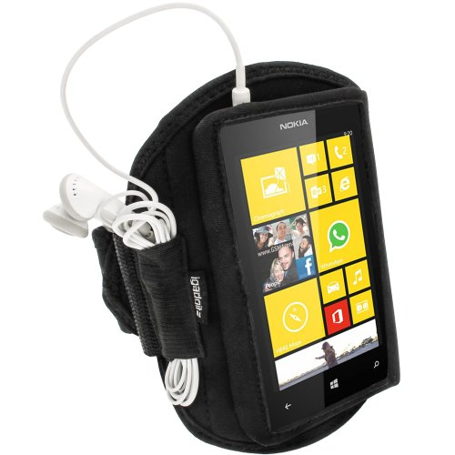 Igadgitz Black Neoprene Sports Gym Jogging Armband For Nokia Lumia 520 Windows Smartphone Mobile Phone