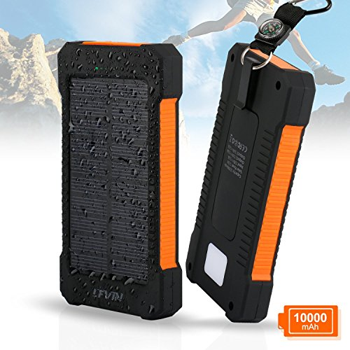 Solar Charger, Levin 10000mAh USB Solar Panel Portable Charger for iPhone, Android Smart Phone, Windows Phone and Tablets, Orange