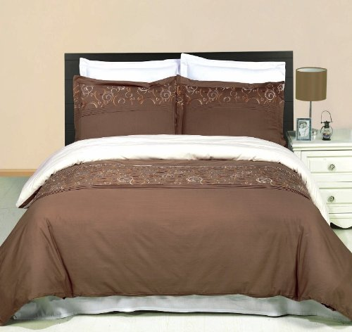 Egyptian Bedding Geneva Embroidered 3 Piece Queen Size Duvet Set, 100% EGYPTIAN COTTON