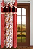 Homefab India Designer Floral Rust Window Curtain (HF020)(6X4ft)(1 pc Curtain)