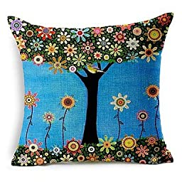 ANDP 8/29 Colorful Flower Tree Cotton/Linen Decorative Pillow Cover
