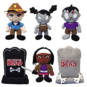 """THE Walking Dead 11.5"""" Plush Figures - 6 Piece Set - Includes Sheriff Rick Grimes, Michonne, Male Zombie, Female Zombie, One Grey, and One Black Tombstones with the Walking Dead Logo"""
