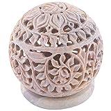 Curio Shop Handmade Stoneware Candle Burner - (L X B X H-7.5Cms X7.5Cms X8.5Cms , Beige/Natural )