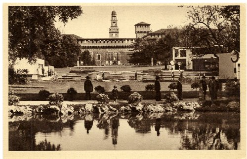 1920s Vintage Postcard Park of Castello Sforzesco