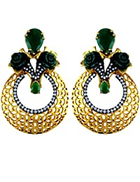 Gehnamart Yellow Gold Plated Emerald And American Diamond Designer Stud Earring