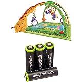 Mattel K4562 - Fisher-Price Rainforest Erlebnisdecke und AmazonBasics vorgeladenen AA-Akkubatterien, 4er Pack