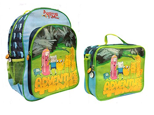 Adventure Time 2 Pc Set - Lunch Bag and Backpack (BLUE/GREEN) - 1