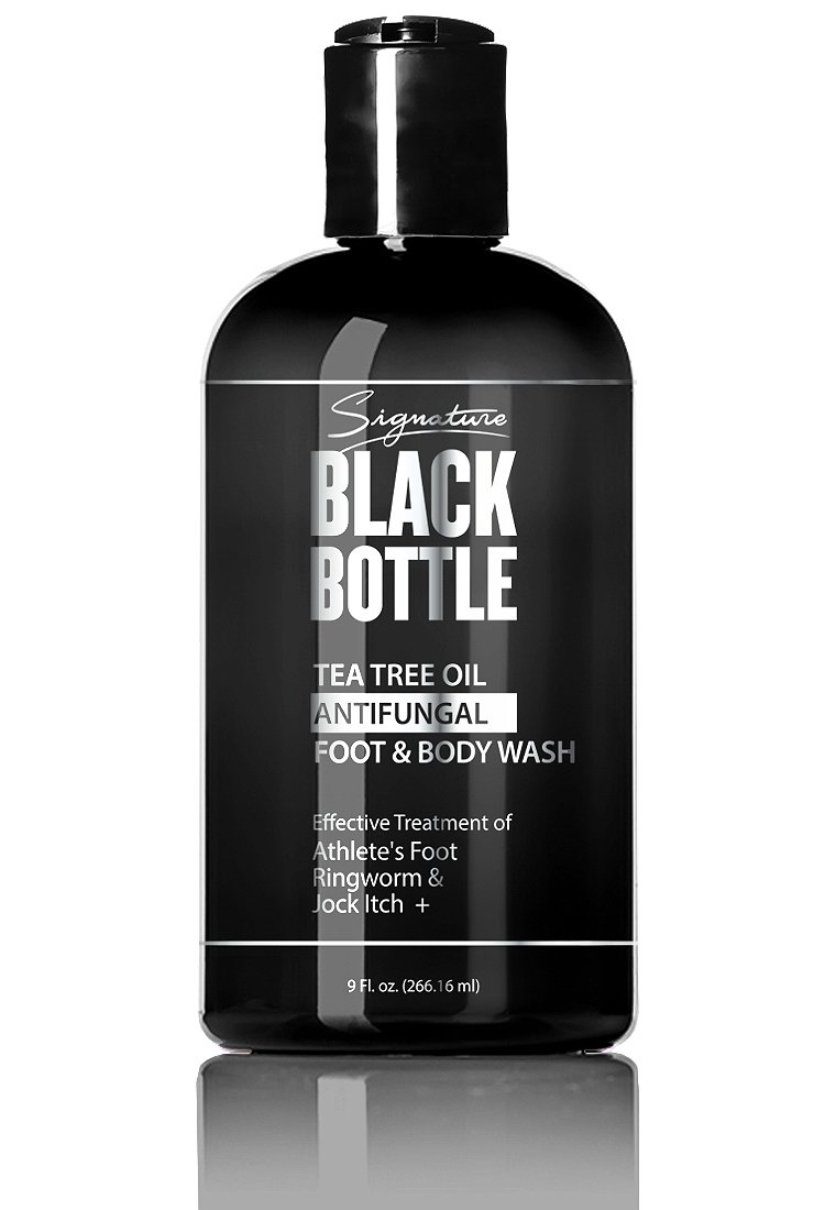 Black Bottle Antifungal Soap w/ Tea Tree Oil & Active Ingredient Proven Clinically Effective for Jock Itch, Athletes Foot, & Ringworm Treatment. Helps Fight Body Acne, Odor & More. 9 oz. (1 Bottle)
