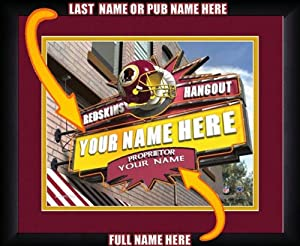 NFL Personalized Sports Pub Custom Framed Hangout Print Washington Redskins by You