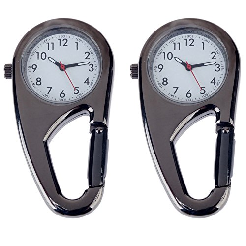 Set of 2pcs Unisex Metal Clip On / Fob / Pocket Watches With Carabineer For Workout / Outdoor Sports (Watch Clip compare prices)