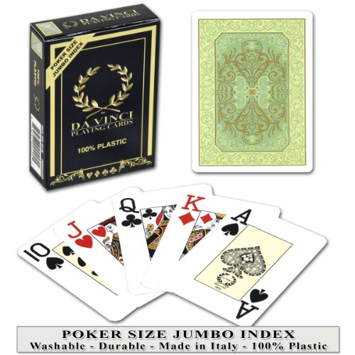 Da Vinci Persiano Green, Italian 100% Plastic Playing Cards, Poker Size Jumbo Index