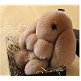 Soft Cute Simulation Rabbit Animal Fur Doll Plush Toy Stuffed Toy Kids Doll Key Chain Play Dead Rabbit (Brown)