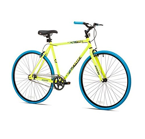 Great Deal! 700c Kent Thruster Men's Fixie Bike, Yellow/blue