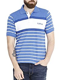 Fanideaz Men's Half Sleeve Cotton Denim Blue Striped Polo T Shirt With Branded Logo Embroidery