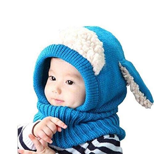 Ularma Inverno Bambini Delle Ragazze Dei Neonati Caldi Coif Lana Berretti Sciarpe Cappelli Cappuccio (BLU)