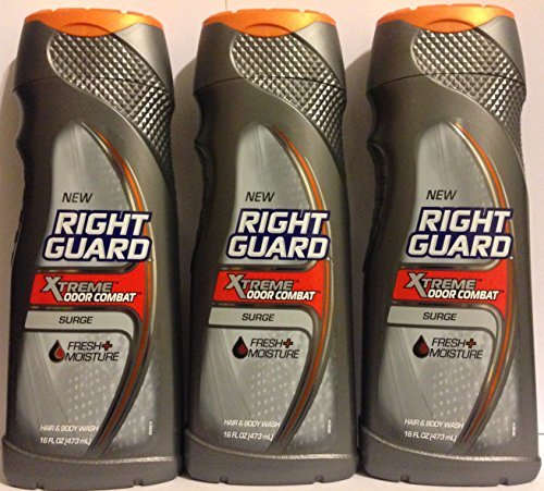 Right Guard Hair & Body Wash - Xtreme Odor Combat - Surge - Net Wt. 16 FL OZ (473 mL) Per Bottle - Pack of 3 (Dial Mens Hair And Body Wash compare prices)