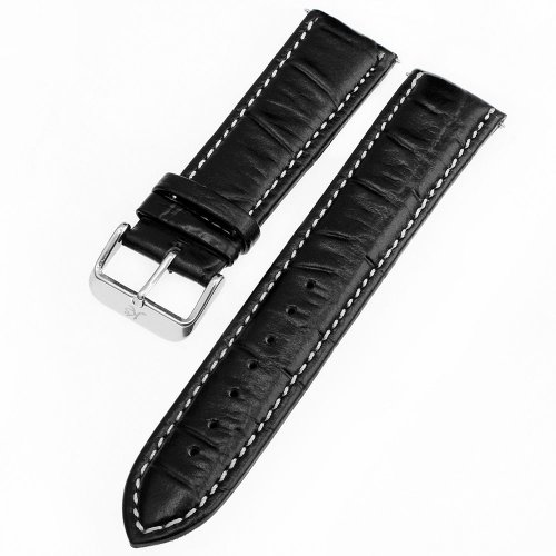 KS Official 22mm Black Genuine Leather Watch Band/Strap Watchbands WTL023