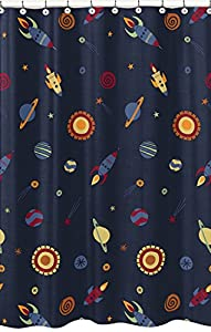 Galactic planets rocket ship kids bathroom for Kids space fabric