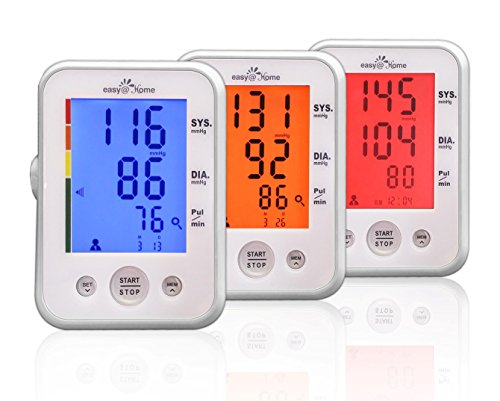 Easy@Home Digital Upper Arm Blood Pressure Monitor with Hypertension Color Alert Technology and Heart Beat / Pulse Meter function – Top Selling FDA-approved For OTC use Blood Pressure Monitor (BP Monitor) – Carry Case and Battery are included | Backlit Large Display, Color Coded Advanced Hypertension Indicator, Irregular heart beat Indicator, 2 User with Memory Recall for up to 60 records under ea