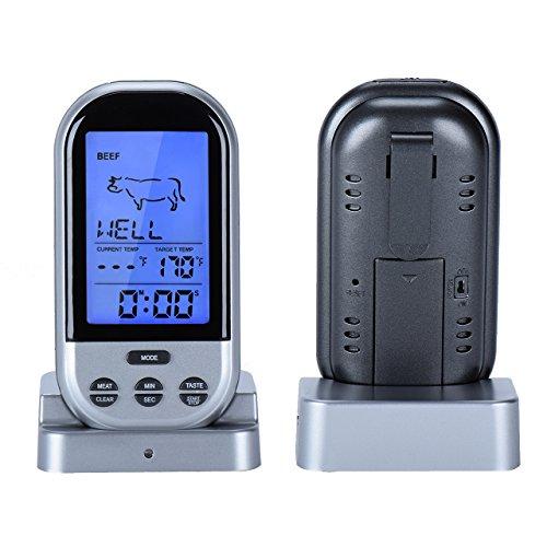 Chaldean - Termometro digitale wireless con sonda, per la cottura della carne, per barbecue e grigliate, con display a lettura istantanea e telecomando