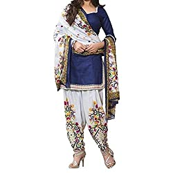Shree Hari Creation Women's Poly Cotton Unstitched Dress Material (253_Blue_Free Size)