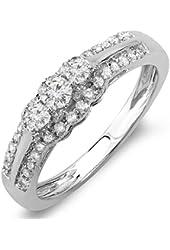 0.50 Carat (ctw) 14k White Gold Round Cut Diamond 3 Stone Ladies Engagement Ring 1/2 CT