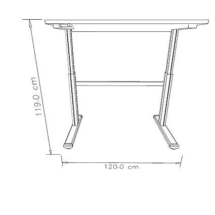 UPLINER Bureau sur pieds à hauteur réglable manuellement - 725 - 1185 mm, l x p 1200 x 800 mm plateau blanc - bureau bureaux réglable en hauteur table tables bureau sur pieds bureaux sur pieds table de bureau table sur pieds tables de